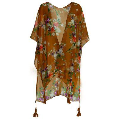 Destiny Floral & Leaf Print Scarf Kimono