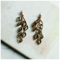 Faceted Stone Chandelier Earrings -  brown-gold