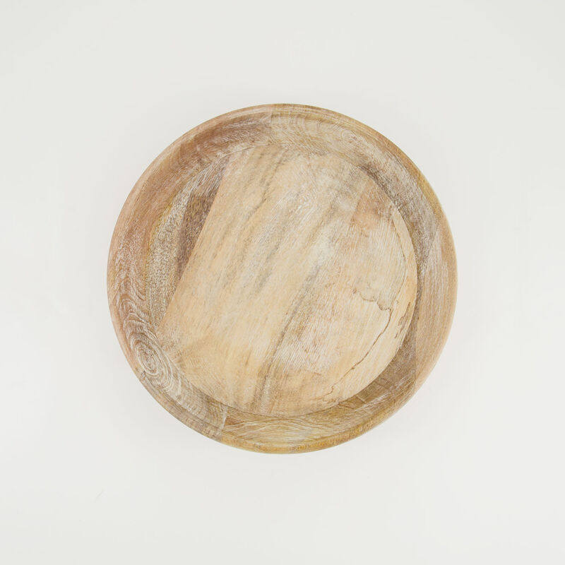 Light Wash Wooden Bowl (Medium) -  brown