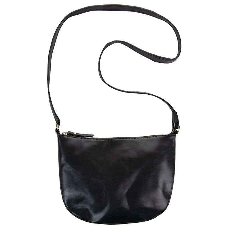 Mina Leather Cross Body Bag -  black
