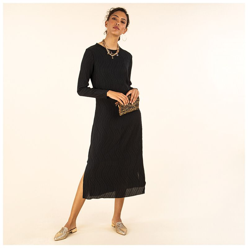 Inari Crepe Knit Shift -  black