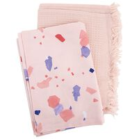 Pink Terrazzo and Waffle Tea Towel Set -  pink