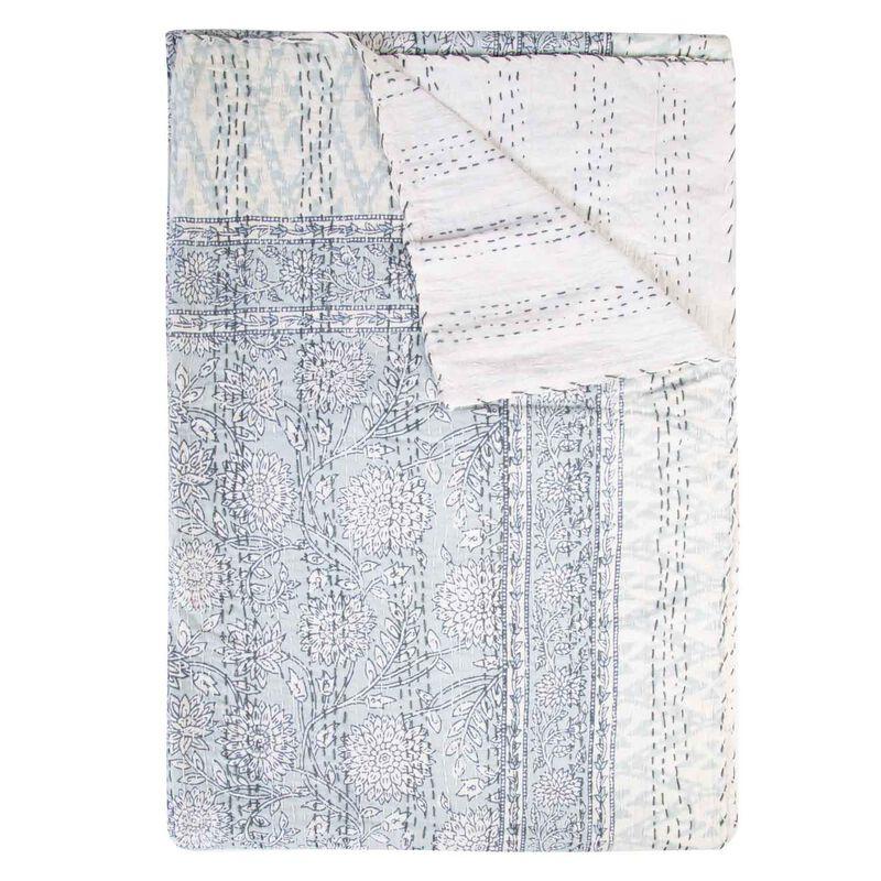 Bloom Indian Quilt -  sage-white