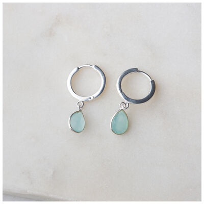 Silver & Aqua Chalcedony Teardrop Huggie Mini Drop Earrings
