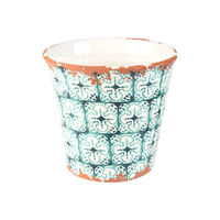 Large Portugal Teal Planter -  teal-white