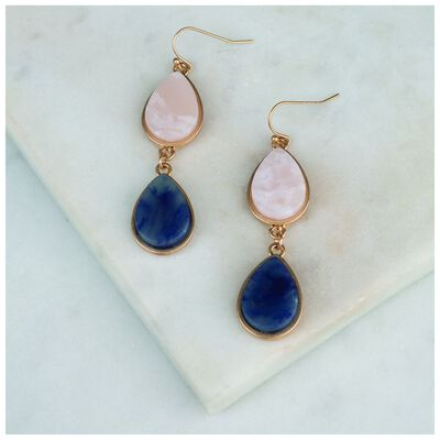 Natural Stone Double Drop Earrings
