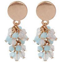 Cluster Beaded Drop Earrings -  gold-blue