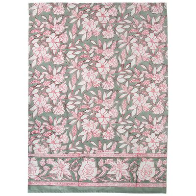 Sage Blockprinted Tea Towel