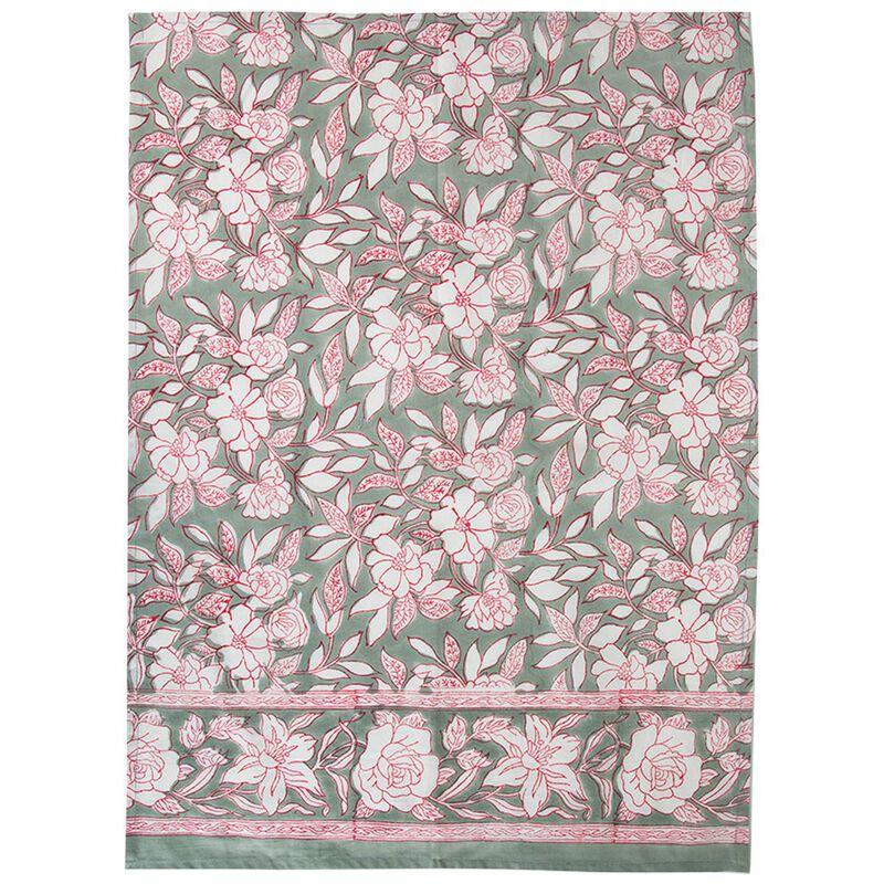 Sage Blockprinted Tea Towel -  sage-white