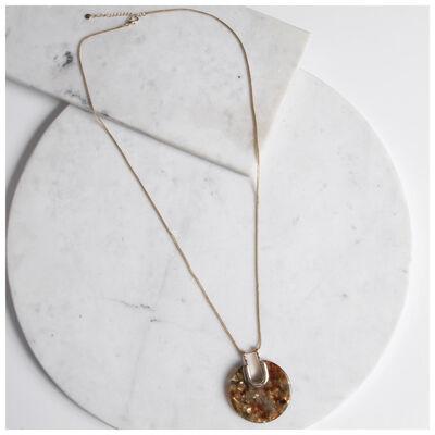 Resin Disc Pendant Necklace