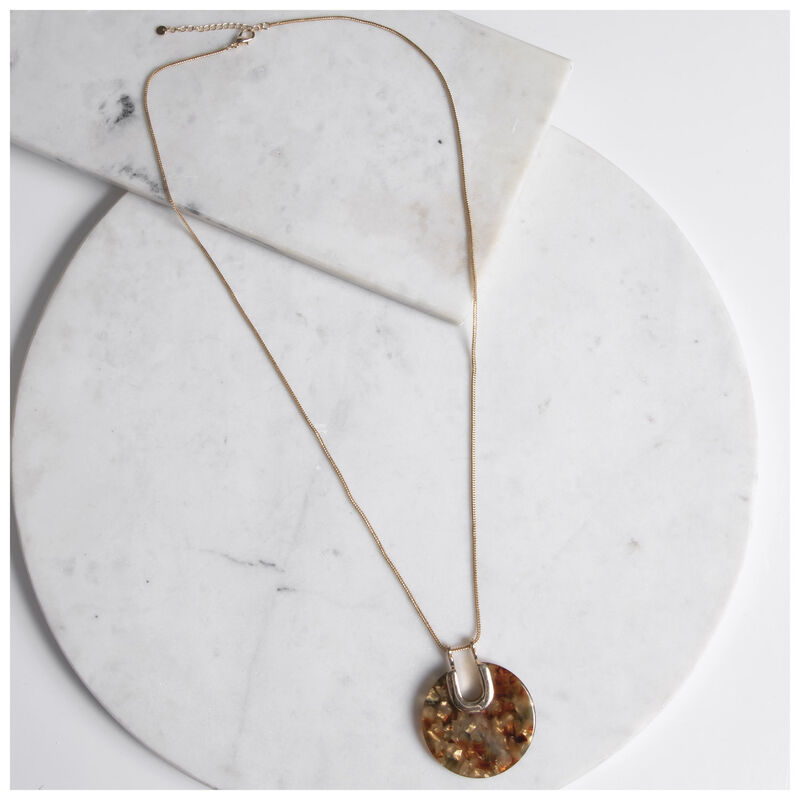 Resin Disc Pendant Necklace -  gold-brown