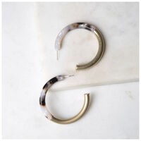Resin & Metal Hoop Earrings -  gold-brown