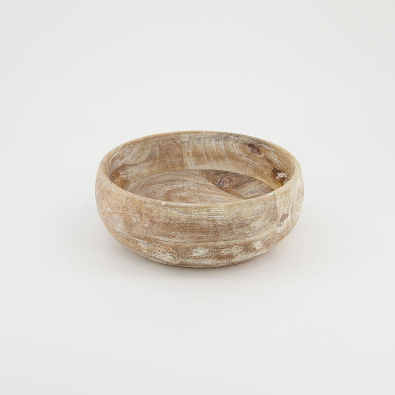 Small Light Wash Wooden Bowl -  brown