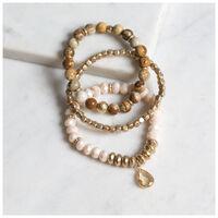 3-Pack Stone & Bead Stretchy Bracelet Set -  gold-brown