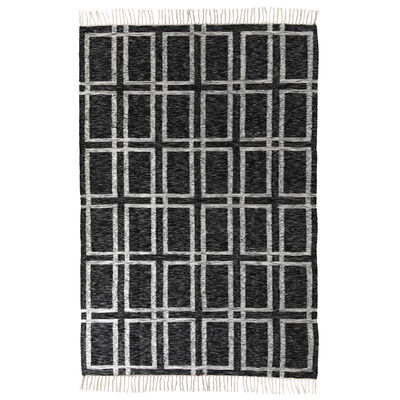 Charcoal and White Grid Wool Rug