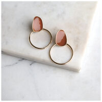 Epoxy Circle Drop Earrings -  gold-pink