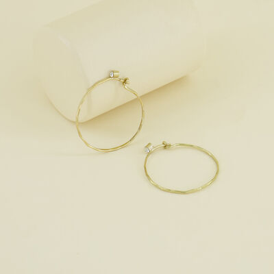 Delicate Medium Hoop Earrings with Stones