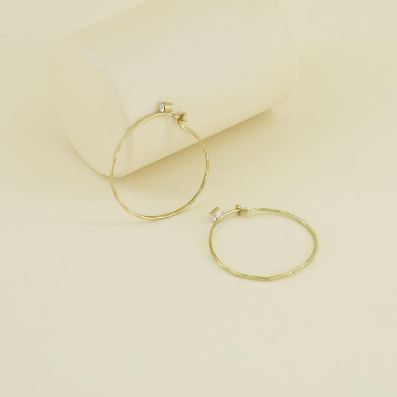 Delicate Medium Hoop Earrings with Stones -  gold