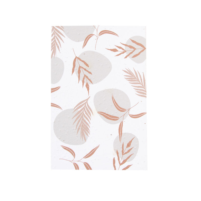 Growing Paper Abstract Leaves Card -  pink-rust