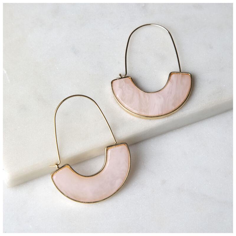 Chunky Halfmoon Cutout Drop Earrings -  lightpink-gold