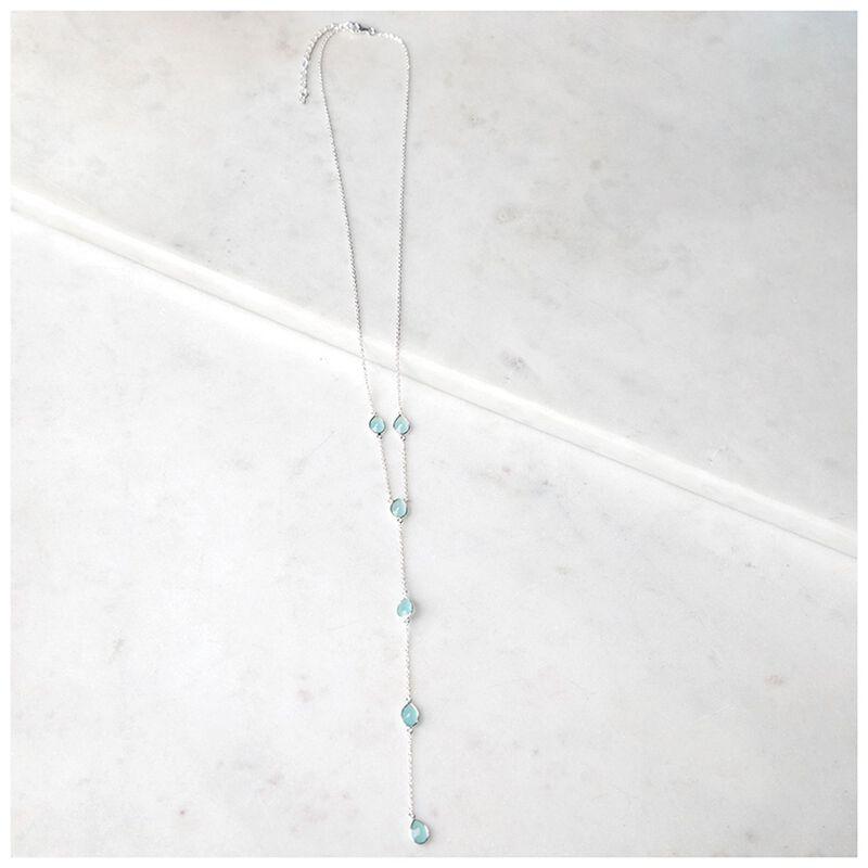 Aqua Chalcedony & Sterling Silver Necklace -  aqua-silver
