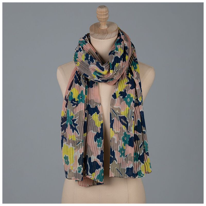 McKinley Pleated Scarf -  pink-blue