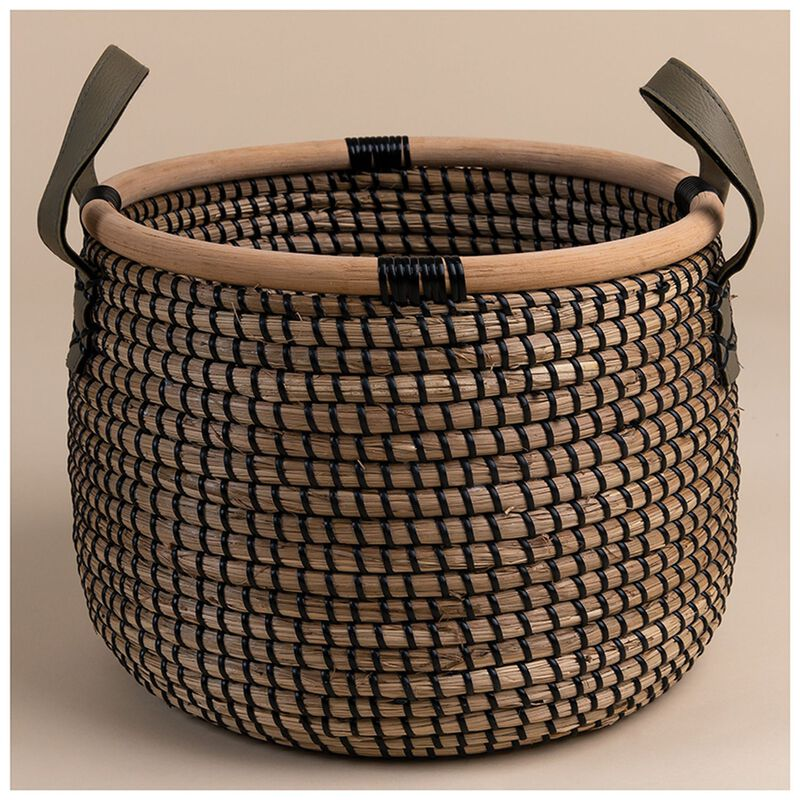 Small Black Natural Seagrass Basket -  nude-black