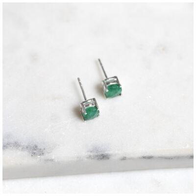 Emerald & Silver Stud Earrings