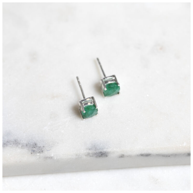 Emerald & Silver Stud Earrings -  silver-emerald