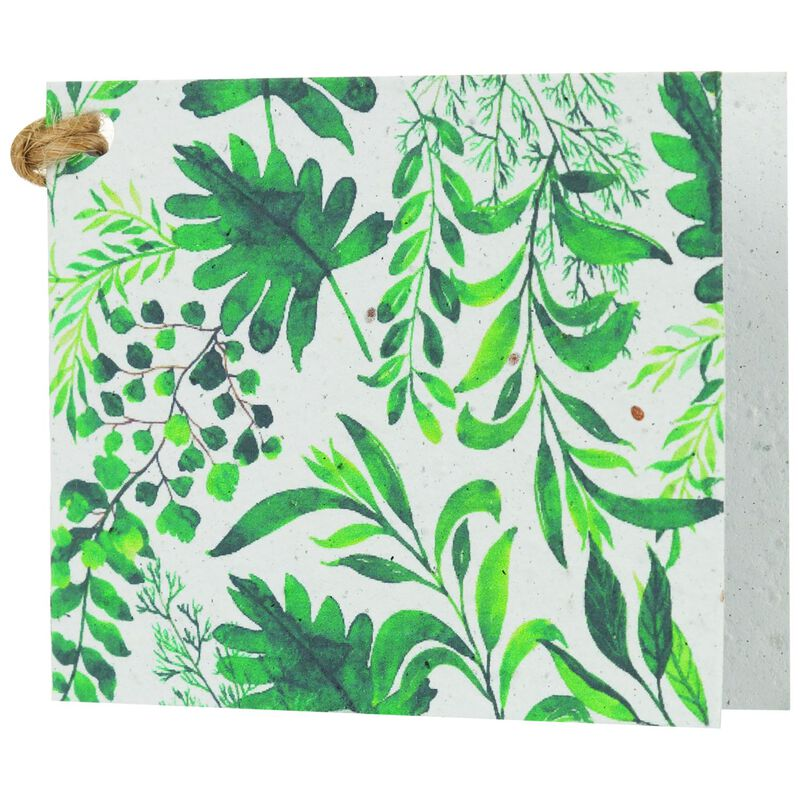 Growing Paper Green Leaves Tag -  green-white