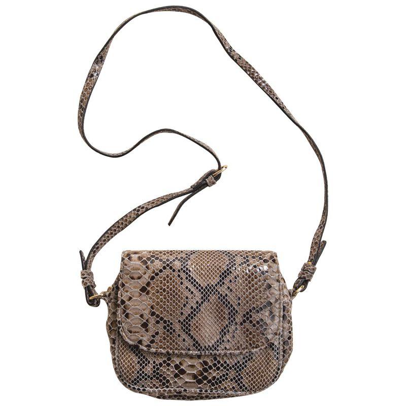 Alisha Snake Print Cross Body Bag -  taupe-black