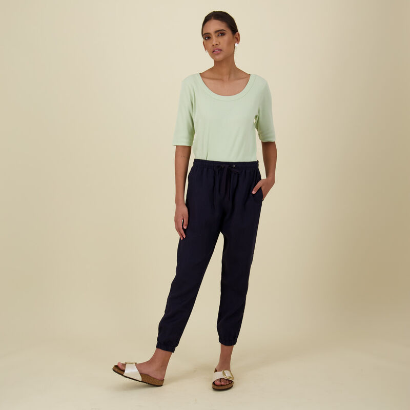 Bev Linen Pants -  navy