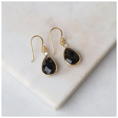 Black Rutile & Gold Teardrop Earrings