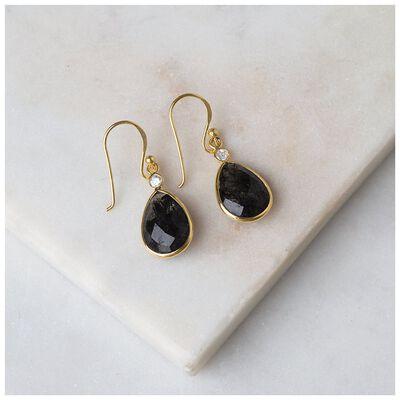 Black Rutile & Gold Teardrop Earrings
