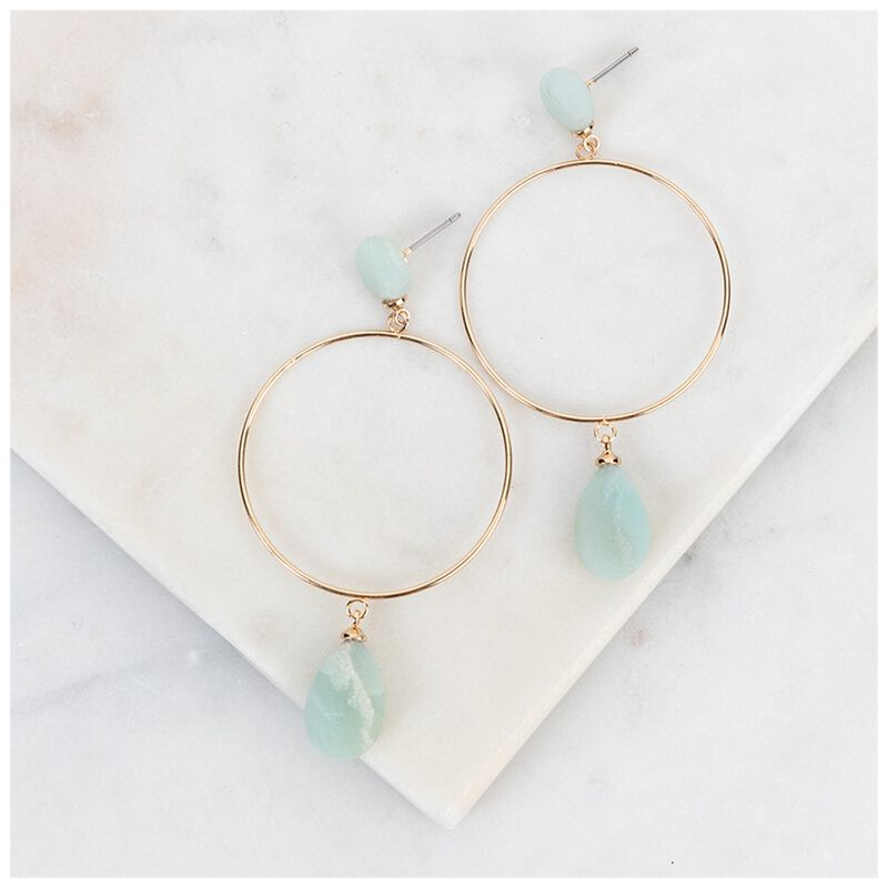 Stone & Circle Earrings -  gold-blue