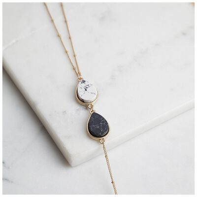 Natural Three Stone Drop Necklace