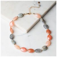 Facet Bead Strand Necklace -  pink-grey