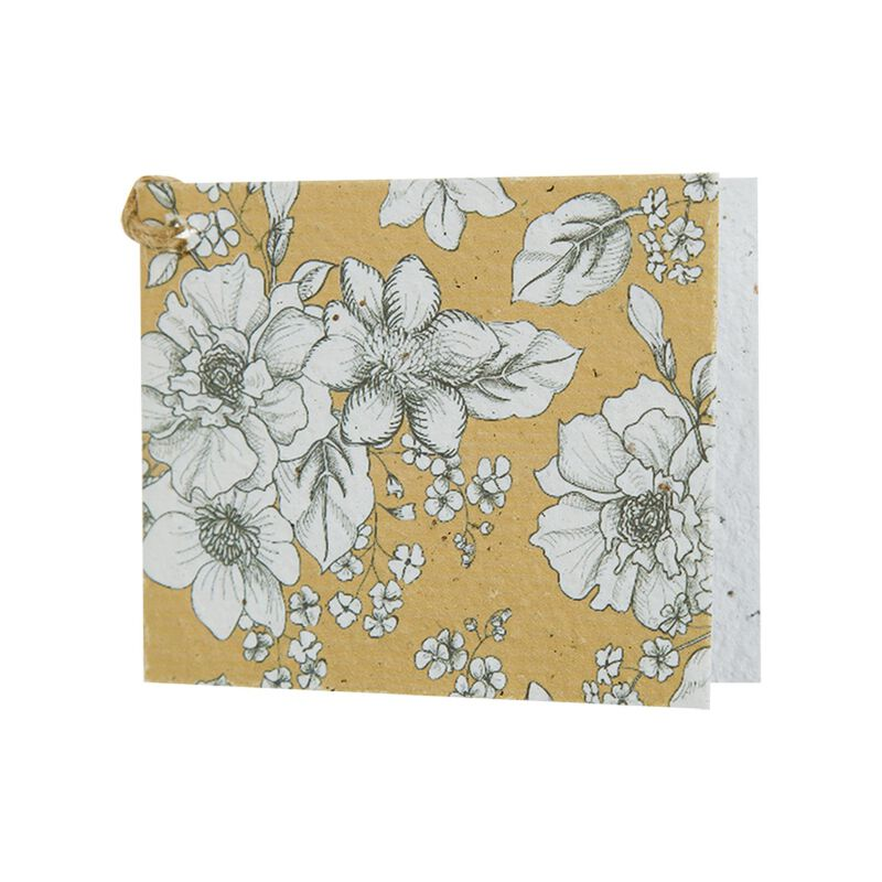 Ochre and White Floral Growing Paper Tag -  assorted