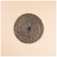 Natural Seagrass Placemat -  blue-oatmeal