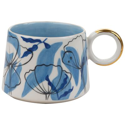 Blue Floral Illustration Mug