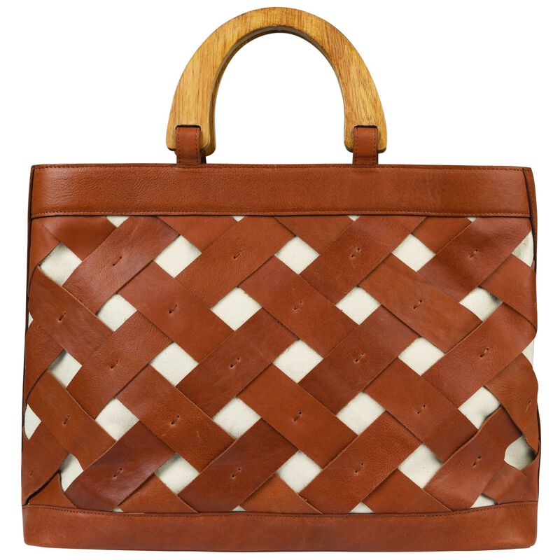 Luciana Basket Weave Leather Bag -  tan-tan