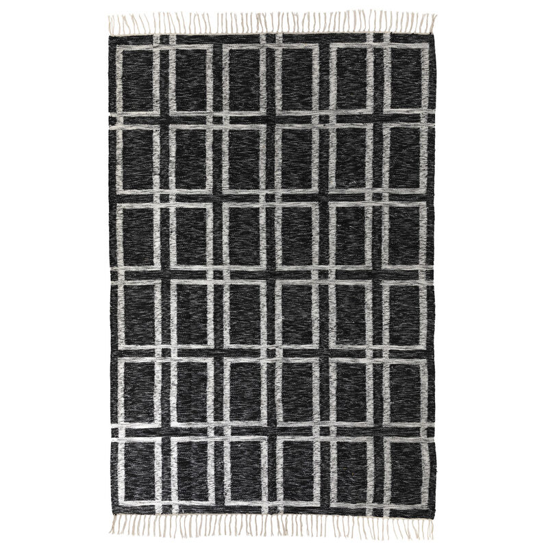 Charcoal and White Grid Wool Rug  -  grey-white