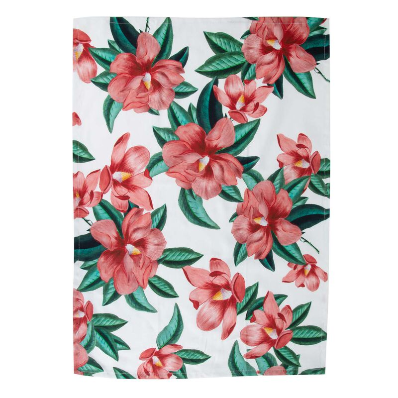 Dusty Pink Blossom Tea Towel -  pink-green