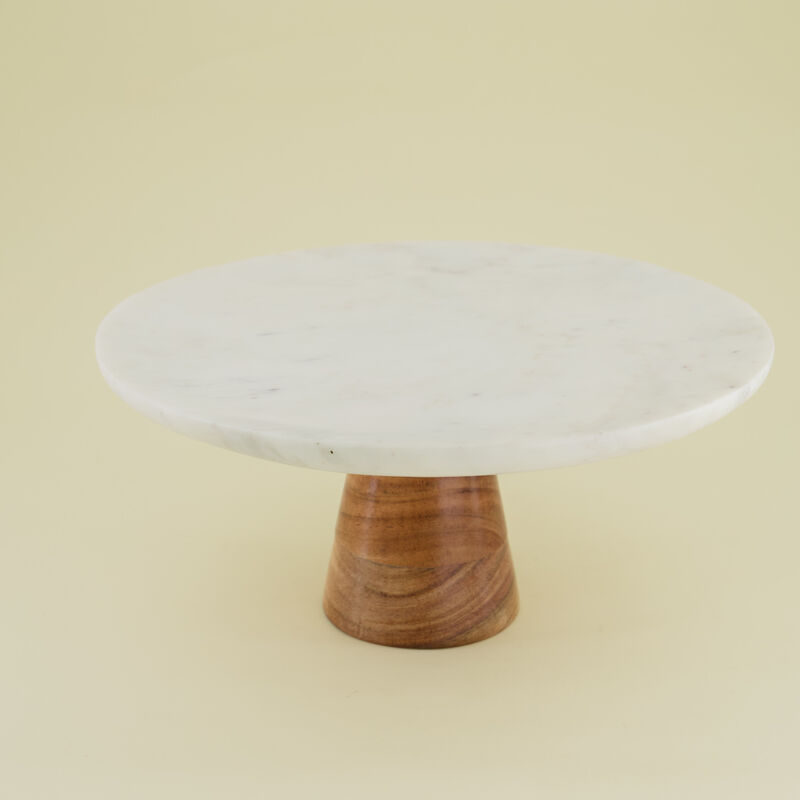 Marble & Wood Cake Stand -  white-brown