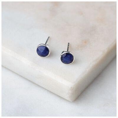 Sapphire & Silver Stud Earrings