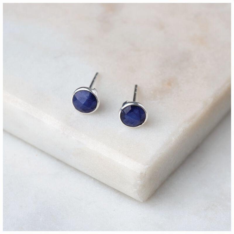 Sapphire & Silver Stud Earrings -  blue