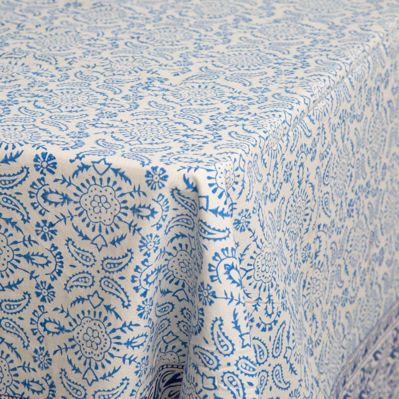 Blues Blockprinted Tablecloth  -  blue-white