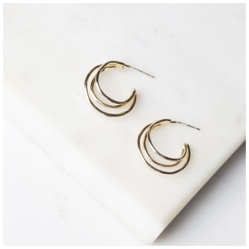 Small Multi-Layered Hoop Earrings -  gold