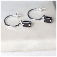 Black Onyx & Silver Drop Earrings -  black-silver