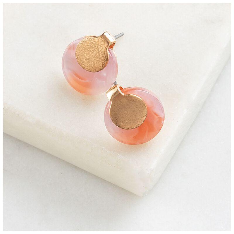Overlap Metal & Resin Disk Stud Earrings -  gold-pink